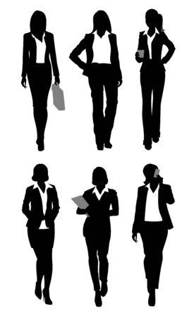 Vector illustration of a six businesswomen silhouettes Ilustracja