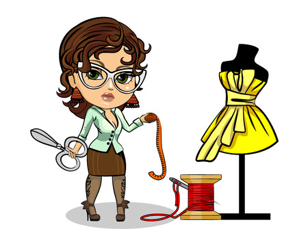 Vector illustration of a tailor designer clothes Çizim