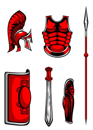 Vector illustration of set of armour on white background