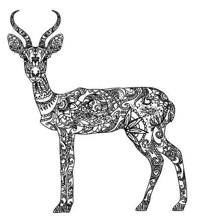 Vector illustration of a beautiful patterned antelope Ilustracja