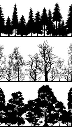 Vector illustration of silhouettes of trees set