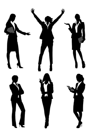 Vector illustration of a six silhouettes businesswomen Ilustracja