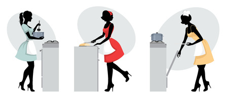 Vector illustration of three silhouettes of girls cooking