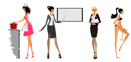 Vector illustration of modern women in different situations
