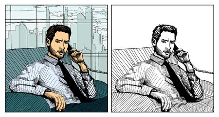 Vector illustration of businessman talking on the phone Ilustracja