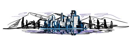 Vector illustration of urban landscape in three colors Ilustracja