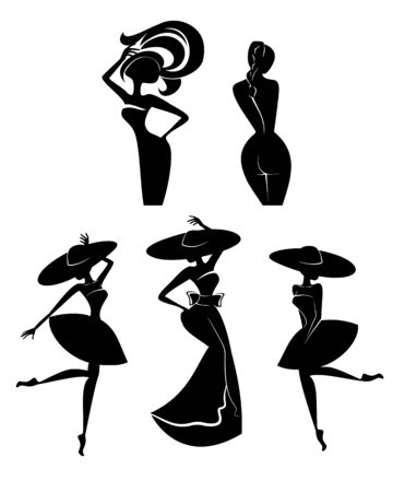 Ilustración vectorial de cinco siluetas de mujeres.