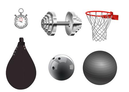 Vector illustration of sports equipment on white background Ilustracja
