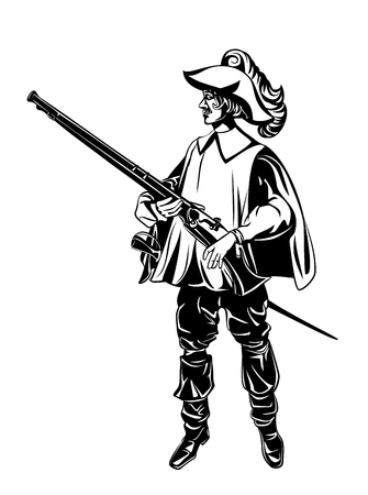 Vector illustration of silhouette of an armed musketeer