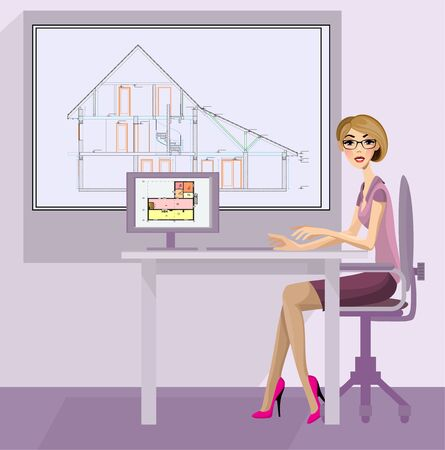 Vector illustration of a girl architect in the workplace