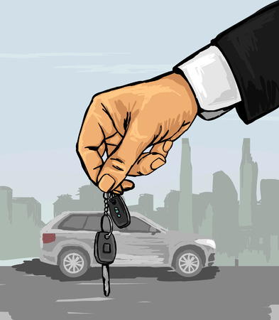 Vector illustration of a hand with the car keys
