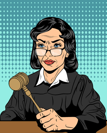 Vector illustration of a strict judge with a hammer Çizim