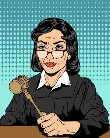 Vectorillustratie van een strikte rechter met een hamer Stock Illustratie