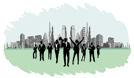 Silhouettes of businesspeople on the background buildings Ilustracja