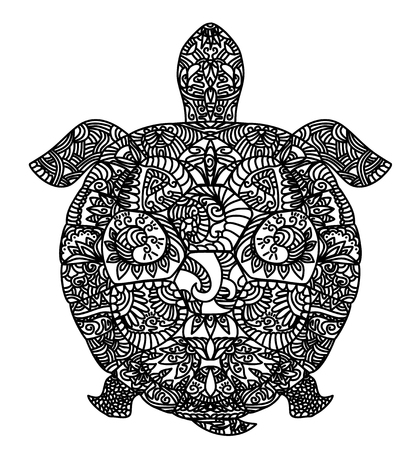 Vector illustration of a patterned turtle on white Ilustracja