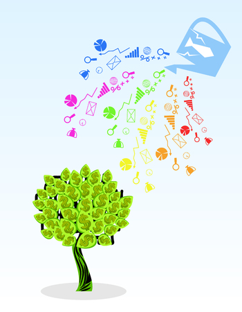 Vector illustration of a money tree and its components Ilustracja