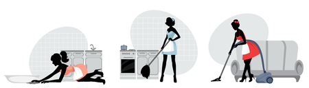 Vector illustration of silhouettes of women cleaning floors Ilustracja