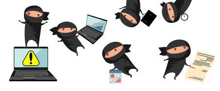 Vector illustration of ninja, helps in business Ilustracja