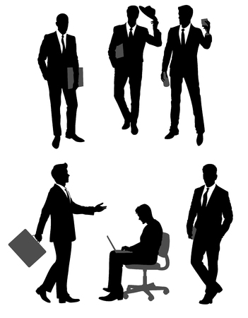 Vector illustration of a group scene of businessmen silhouettes