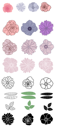 Vector illustration of set of different flowers