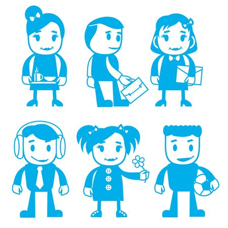 Vector illustration of different characters in blue color