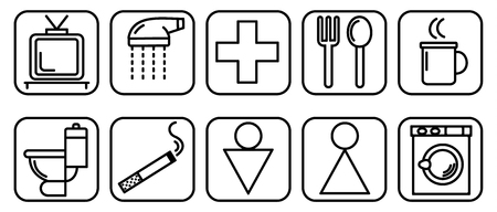 Vector illustration of set of icons to destination rooms