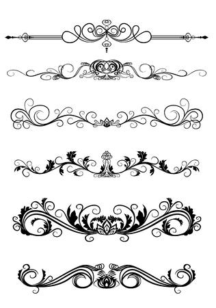 Vector illustration of set of curls to frame