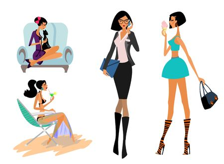 Vector illustration of set of girls in different situations Ilustracja