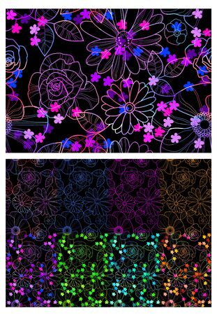 Vector illustration of floral seamless pattern in different colors Ilustracja