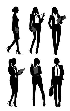 Vector illustration of six silhouettes of businesswomen