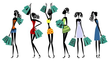 Vector illustration of silhouettes of women with shopping Ilustracja