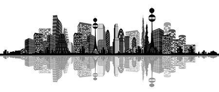 Vector illustration of an abstract silhouette of city