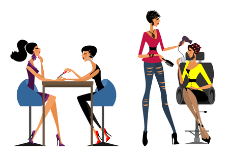 Vector illustration of modern girls in the beauty salon Illusztráció