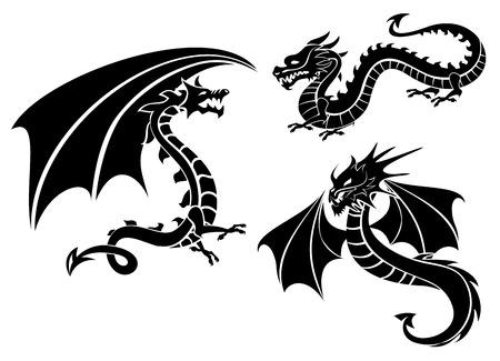 Vector illustration of silhouettes of three dragons Ilustracja