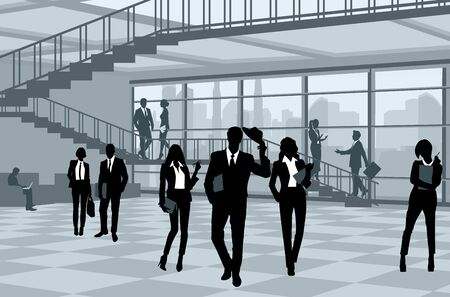 Vector illustration of silhouettes of businesspeople in office