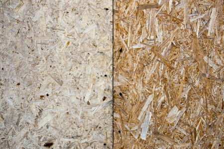 Two oriented strand boards with self-tapping screw Stock Photo