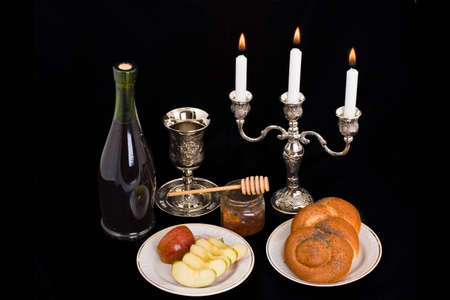 rosh: Apples and honey are symbols of the Jewish new year Stock Photo