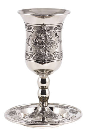 judaica: Silver kiddush wine cup and saucer isolated