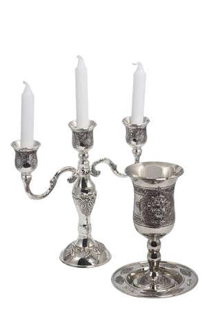 shabat: Plata Kiddush c�liz de vino y vela aisladas