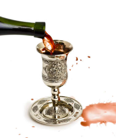 shabbat: filling ritual wine cup in the Sabbath Stock Photo