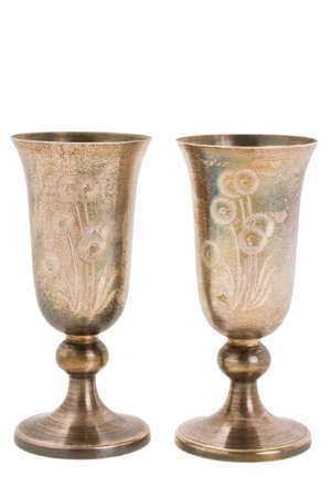 yom kipur: Silver kiddush wine cup and saucer isolated