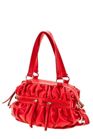 expressed: feminine red bag expressed on white background