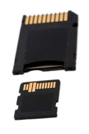 telephone memory card expressed on white background photo