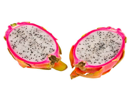 depicted: The ripe fruit pitahaya depicted on a white background Stock Photo