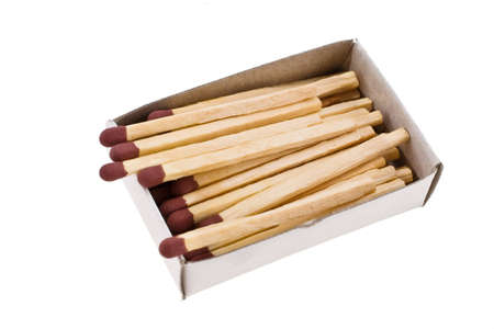 Opened boxes of matches on a white background photo