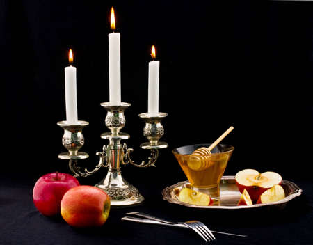 honey and apple symbology new year beside jude Stock Photo - 4131080