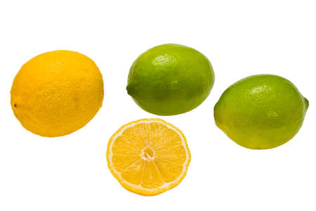 expressed: yellow and green lemons expressed on white background