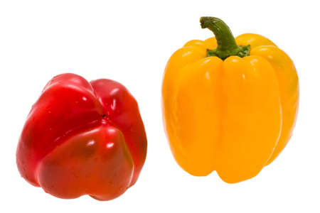 expressed: ripe sweet pepper expressed on white background