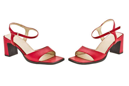 heel strap: red light sandals expressed on white background