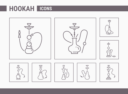 Hookah Icons - Vector Set Web & Mobile 01 Illustration